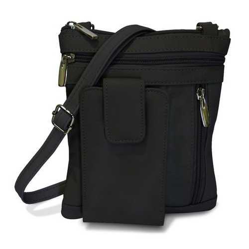 On The Go AFONiE Genuine Leather Messenger Bag-Black Color