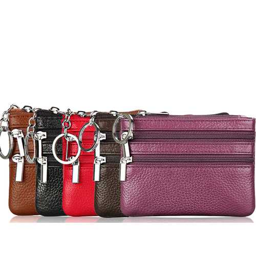 Small Leather 3 Zipper Coin Wallet-Assorted Colors
