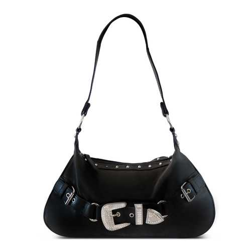 Front Rhinestone Buckle Leather Baguette Bag