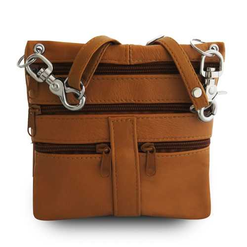 Multi Pockets Leather Messenger Bag-Tan Color