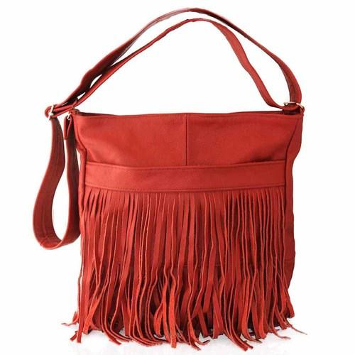 AFONiE Red Messenger Fringe Leather Handbag