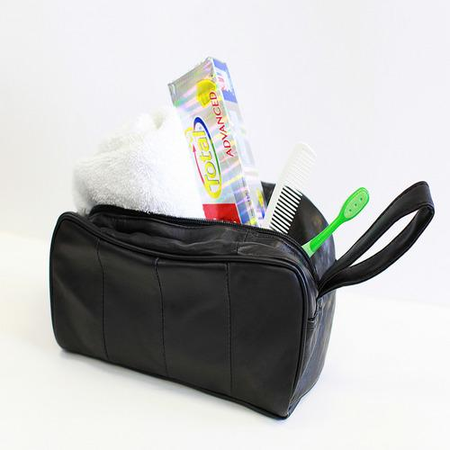 Soft Genuine Lambskin Leather Travel Toiletry Bag
