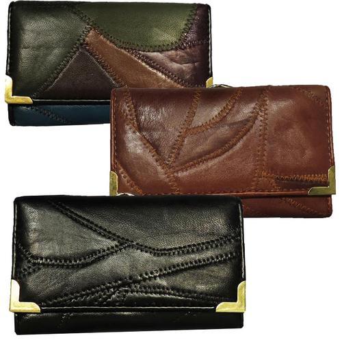 Zigzag stitch Women leather  Wallet