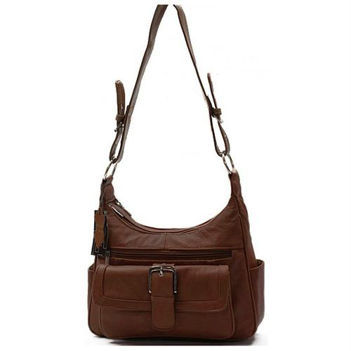 AFONiE Collection Timeless Genuine Leather Women Purse Brown Color