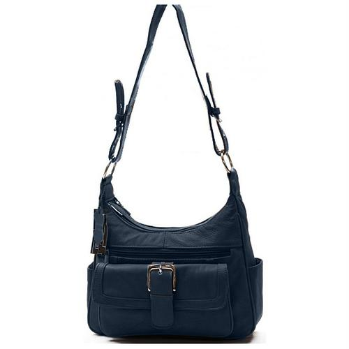 AFONiE Collection Timeless Navy Blue Genuine Leather Women Purse