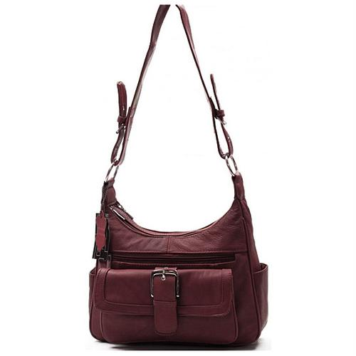 AFONiE Collection Timeless Genuine Leather Wine Color Women Purse