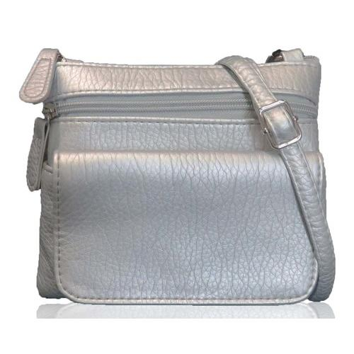 AFONiE- Mini Sofia Genuine Leather Cross-Body Bag Silver Color