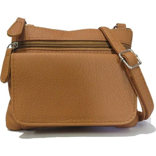 AFONiE- Mini Sofia Genuine Leather Tan Cross-Body Bag
