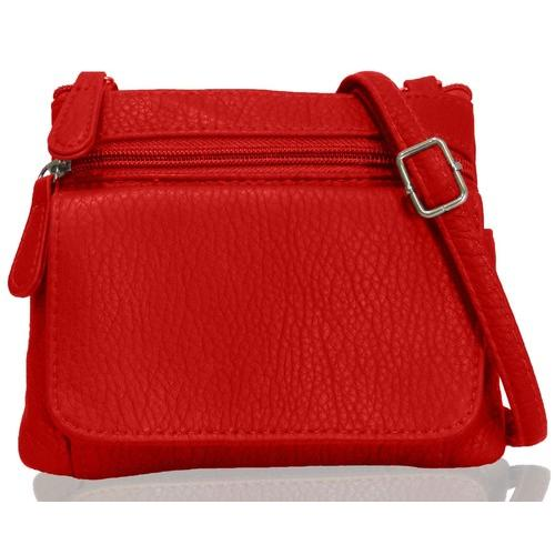 AFONiE- Hot Red Mini Sofia Genuine Leather Cross-Body Bag