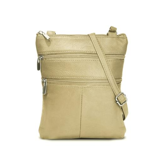 AFONiE- Flat Two Sides Leather Cross Body Bag-Beige Color