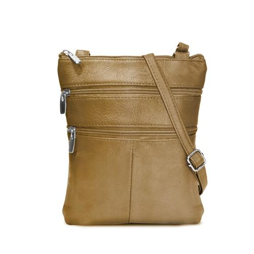 AFONiE- Flat Two Sides Leather Cross Body Bag-Tan Color