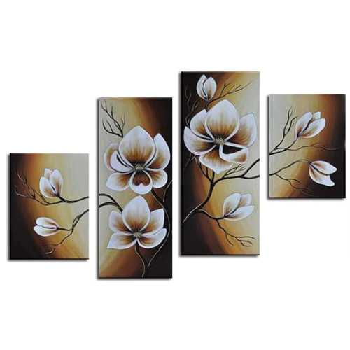 White Bloosom Wall Decor Oil Paintings On Canvas Various Abstract Designs 4 Panels