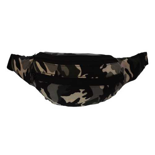 Grey Camouflage Fabric Waist Pouch