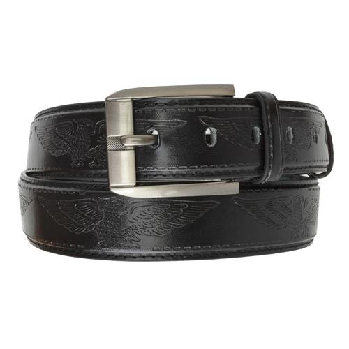 AFONiE Men's Jeans Leather Belt Buckle with Eagle Embossing