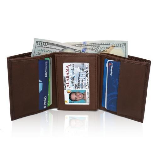 AFONiE Soft Genuine Leather Tri-fold Wallet For Men