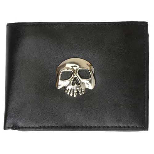Skull Biker Leather Bi-Fold Men Wallet