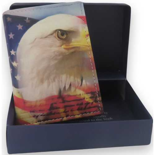 Handcrafted USA Eagle Print Trifold Leather Wallet