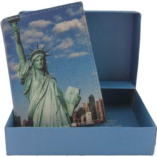 Handcrafted Statue of Liberty Trifold Leather Wallet