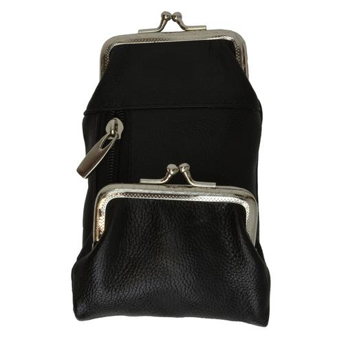 AFONiE-Black Kisslock Leather Coins Wallet