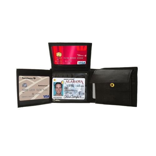 AFONiE Genuine Leather Bifold Wallet For Men with Flip ID