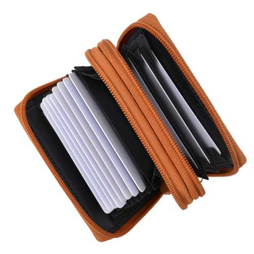 Leather Secure Cards Holder Wallet For Women-Tan  Color