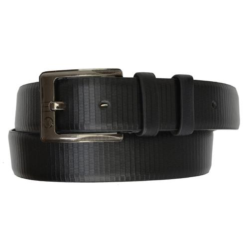 AFONiE Designer Mens Black Leather Belt with Buckle