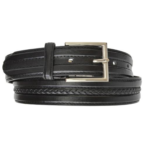 AFONiE Black Weave Leather Belt with Buckle for Men
