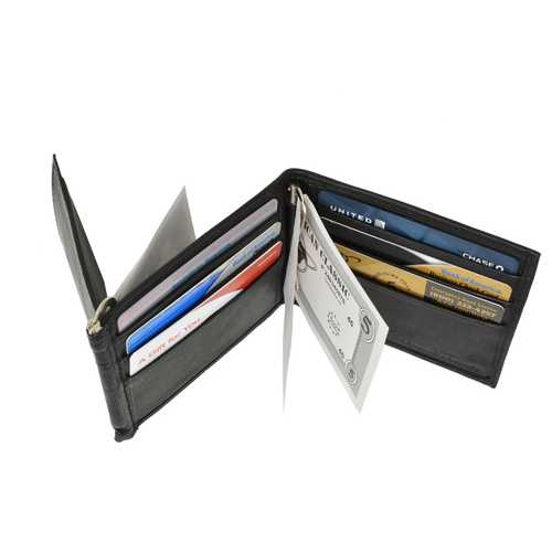 Double Money Clip Leather Wallet