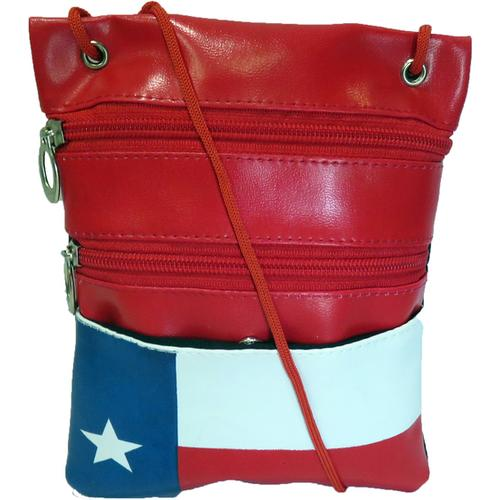 AFONiE-Soft Genuine Leather Texas Flag Print Cross-body Bag