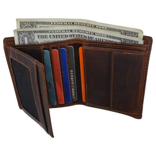 Distressed Leather Trifold  Wallet For Men