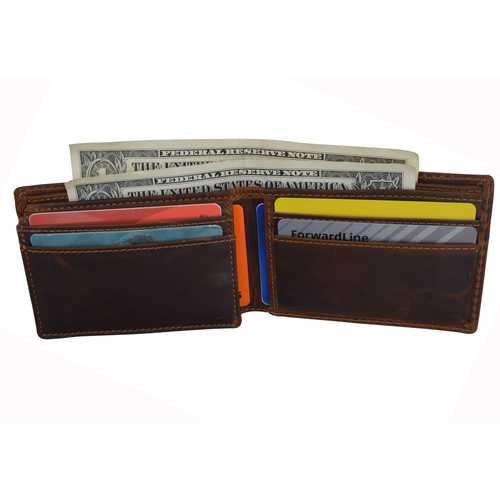 Distressed Brown Flip Pocket Leather Wallet