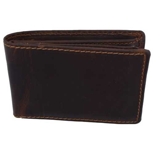 Distressed Dark Brown Leather Trifold Wallet