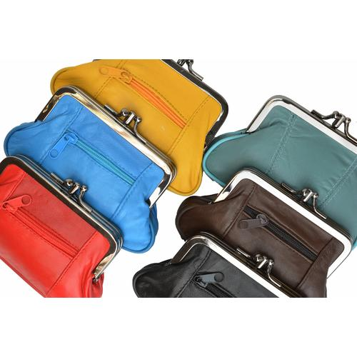 AFONiE Soft Leather Double Pocket Change Purse