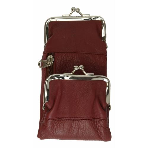 AFONiE-Rich Wine Kisslock Leather Coins Wallet