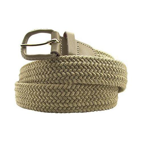 Braided Elastic Stretch Belt Leather Covered Buckle Beige Color