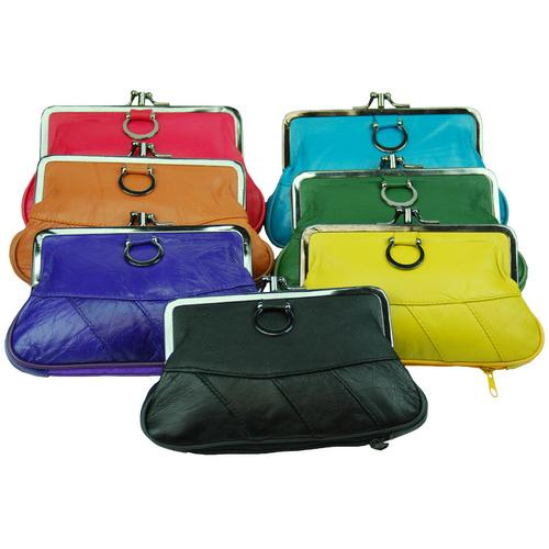 Luxurious Soft Leather Change Purse with Clasp Closure