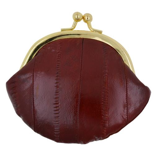 AFONiE-Rich Wine Genuine Eel Skin Kisslock Coin Wallet