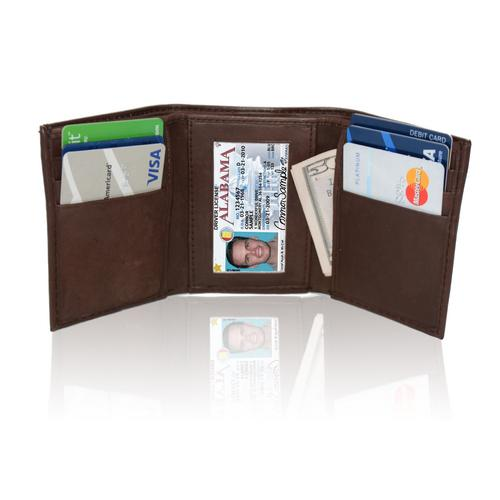AFONiE RFID-Blocking Genuine Leather Tri-fold Wallet For Men