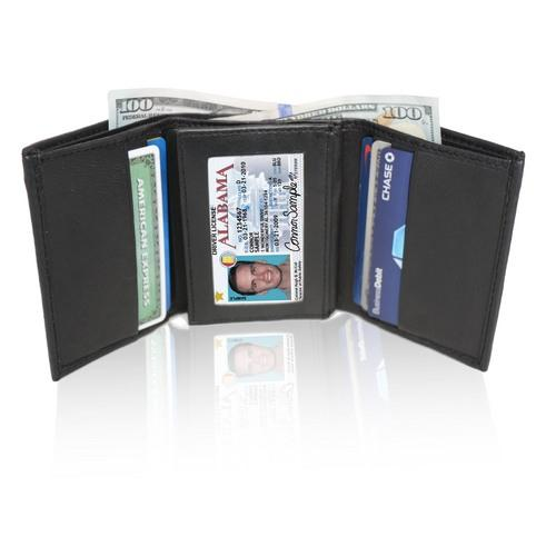 AFONiE RFID-Blocking Soft Genuine Leather Tri-fold Wallet For Men