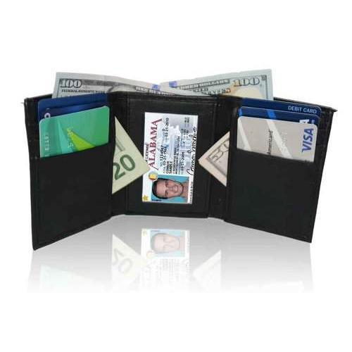 AFONiE RFID Genuine Leather Tri-fold Wallet For Men