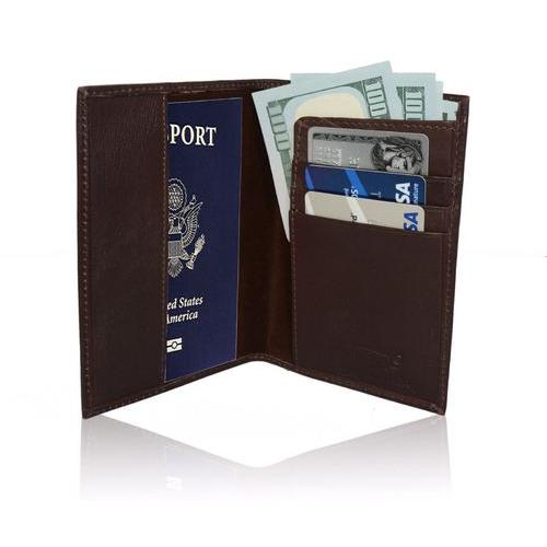AFONiE RFID-Blocking Soft Leather Passport Case Cover + Wallet
