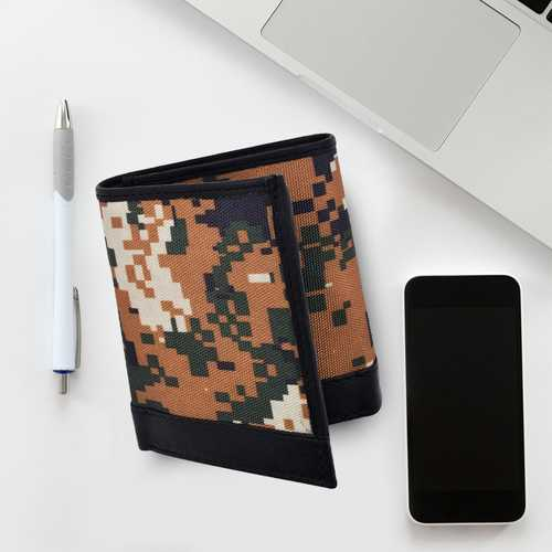 AFONiE- Camo RFID Leather Trifold Wallet