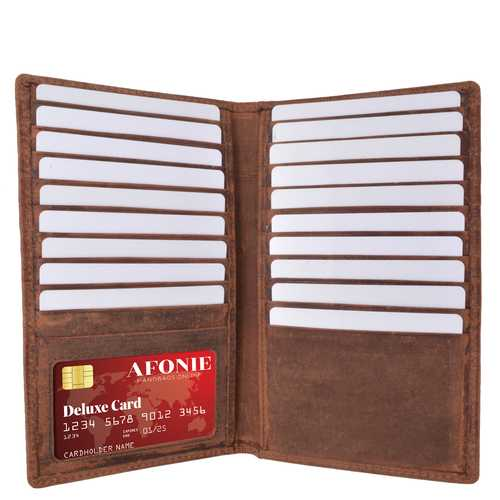 Distressed RFID Long Credit Card Wallet