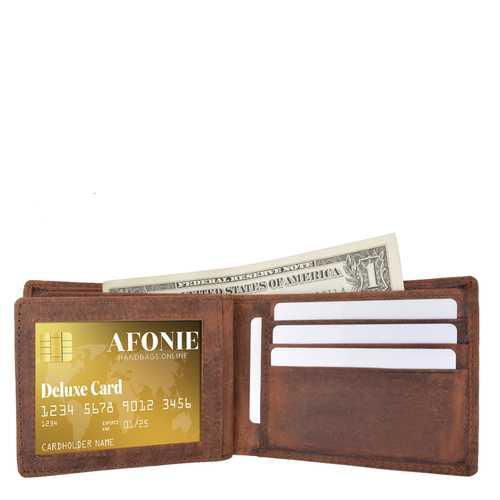 Distressed RFID Leather Bifold Wallet with Flip ID
