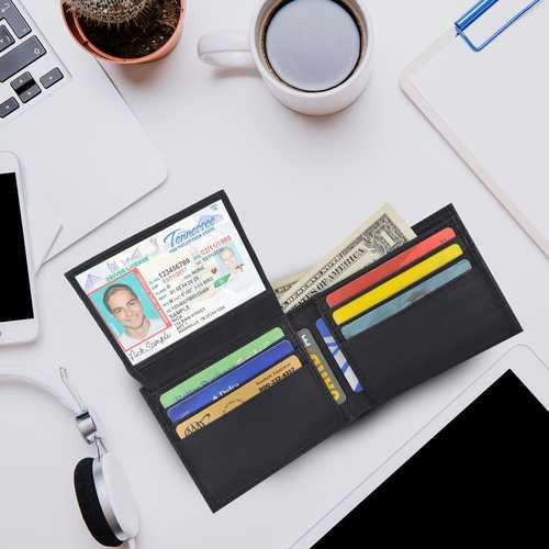 AFONiE Camo RFID ID window Leather Wallet