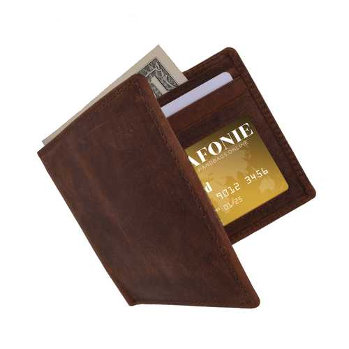 Distressed RFID Leather Slim Bifold Wallet