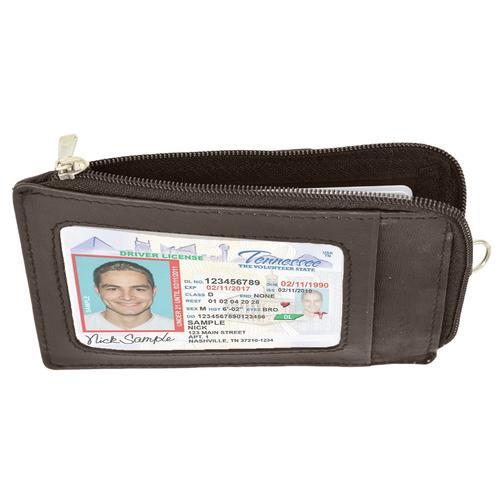 AFONiE- RFID Brown Slim Leather Neck Wallet