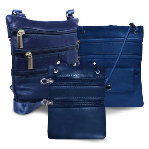 All Leather Set Of 3 Casual On The Go Bags-Navy Blue Color