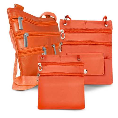 All Leather Set Of 3 Casual On The Go Bags-Orange  Color