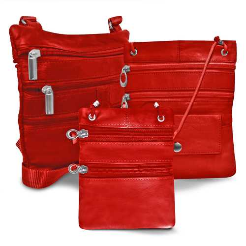 All Leather Set Of 3 Casual On The Go Bags-Red Color